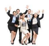 Ritratto integrale del gruppo di gente di affari felice fotografia stock libera da diritti