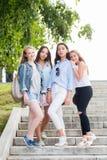 Ritratto integrale di giovani ragazze affascinanti dello studente nel parco di estate fotografia stock libera da diritti