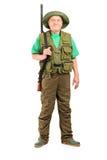 Ritratto integrale di un cacciatore maschio con la posa del fucile da caccia Fotografia Stock Libera da Diritti