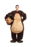 Ritratto integrale di un giovane in costume dell'orso Fotografia Stock