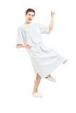 Ritratto integrale di un paziente maschio che gesturing felicità Fotografie Stock