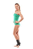 Ritratto integrale di una posizione della donna dell'atleta Fotografie Stock