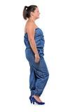 Ritratto integrale di una ragazza che si leva in piedi in una riga Fotografia Stock Libera da Diritti
