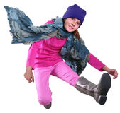 Ritratto isolato di autunno del bambino con il salto del cappello, della sciarpa e degli stivali Immagini Stock