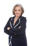 Ritratto isolato di una donna femminile senior soddisfatta di affari immagini stock libere da diritti