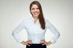 Ritratto isolato donna di affari sorridente sicuro Fotografie Stock