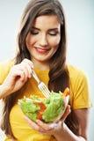 Ritratto isolato donna di dieta Chiuda sul fronte femminile Fotografie Stock