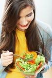 Ritratto isolato donna di dieta Chiuda sul fronte femminile Immagini Stock