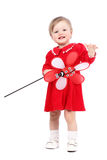 Ritratto luminoso di gioco della neonata adorabile con il giocattolo rosso Immagine Stock