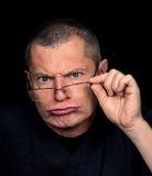 Ritratto maschio con le emozioni grottesche Fotografie Stock Libere da Diritti