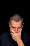 Ritratto maschio con le emozioni grottesche fotografia stock
