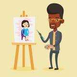 Ritratto maschio creativo della pittura dell'artista illustrazione di stock