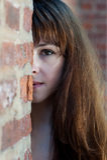Ritratto mezzo del fronte del primo piano di giovane redhead Fotografie Stock Libere da Diritti