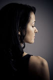 Ritratto mezzo del fronte di bella giovane donna triste Immagine Stock Libera da Diritti