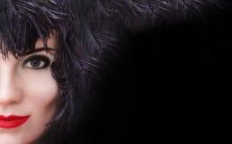 Ritratto misterioso della donna di modo con lo spazio della copia Immagini Stock Libere da Diritti
