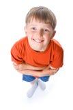 Ritratto in modo divertente del ragazzo con le mani attraversate Fotografia Stock Libera da Diritti