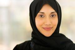 Ritratto musulmano del primo piano della donna Fotografia Stock