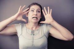 Ritratto nervoso sollecitato della donna Immagini Stock Libere da Diritti