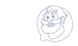 Ritratto online del carattere di scarabocchio di schizzo di concetto di comunicazione di chiacchierata della bolla di profilo del illustrazione vettoriale