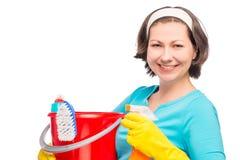 Ritratto orizzontale della casalinga di 30 anni Immagine Stock Libera da Diritti