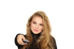 Ritratto orizzontale della ragazza su un fondo bianco Immagine Stock Libera da Diritti