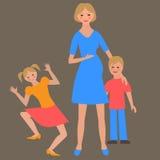 Ritratto piano della famiglia felice con la madre ed i bambini Immagini Stock Libere da Diritti
