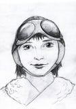 Ritratto pilota della ragazza Fotografia Stock