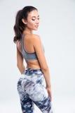Ritratto posteriore di vista di una donna felice di sport Immagini Stock