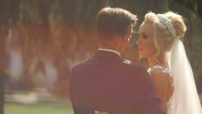 Ritratto posteriore romantico delle coppie attraenti alla moda della persona appena sposata nell'amore che abbraccia tenero nei s stock footage