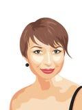 Ritratto realistico della foto della ragazza sorridente Immagini Stock Libere da Diritti