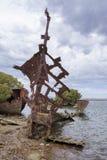 Ritratto: Relitto scafo acciaio della nave, isola del giardino, porto Adelaide, Fotografie Stock