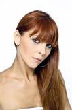 Ritratto rosso della donna dei capelli Immagine Stock