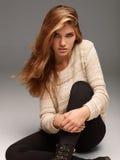 Ritratto semplice di bella ragazza Fotografia Stock