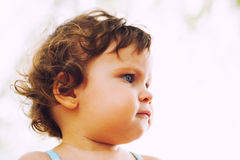 Ritratto serio di profilo del bambino Fotografia Stock