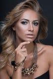 Ritratto sexy della donna del modello di moda di bellezza, isolato su fondo nero Fotografia Stock Libera da Diritti