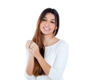 Ritratto similing della ragazza timida indiana asiatica del brunette Fotografia Stock Libera da Diritti