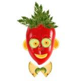 Ritratto sorridente dell'uomo fatto delle verdure e della frutta Fotografie Stock