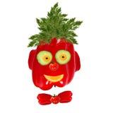 Ritratto sorridente dell'uomo fatto delle verdure e della frutta Immagini Stock