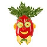 Ritratto sorridente dell'uomo fatto delle verdure e della frutta Immagine Stock