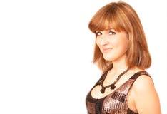 Ritratto sorridente della donna, isolato Fotografie Stock Libere da Diritti