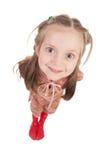 Ritratto sorridente della ragazza grandangolare Fotografia Stock