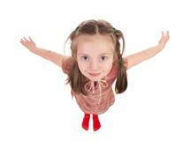 Ritratto sorridente della ragazza grandangolare Fotografie Stock
