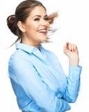 Ritratto sorridente a trentadue denti felice della donna di affari Isolato Immagine Stock Libera da Diritti