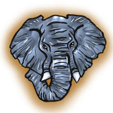 Ritratto stilizzato dell'illustrazione dell'elefante africano Fotografia Stock