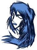 Ritratto stilizzato della donna in blu Fotografia Stock