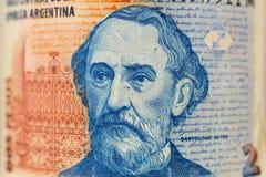 Ritratto sulla fattura di soldi argentina da 2 pesi immagini stock