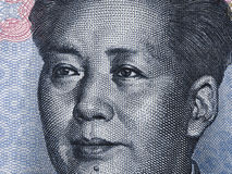 Ritratto sulla macro della banconota di yuan del cinese dieci, Cina Mo di Mao Zedong Fotografie Stock