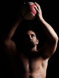 Ritratto topless sexy dell'uomo di rugby Immagine Stock Libera da Diritti