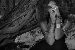 Ritratto tribale del ballerino di pancia Fotografia Stock