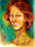 Ritratto variopinto della donna, con capelli rossi, foglie dorate luminose Immagini Stock